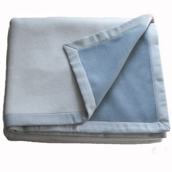 Double Face Merino Blanket Blue & Grey