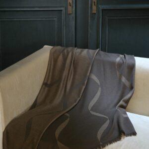 Ribbon Merino Throw Bark & Linen