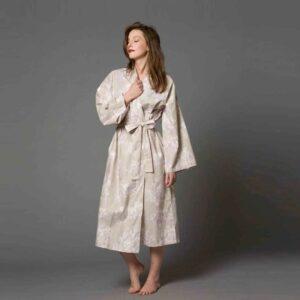 Print Cotton Kimono Dressing Gown