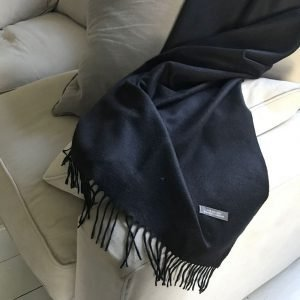 Black cashmere and merino throw