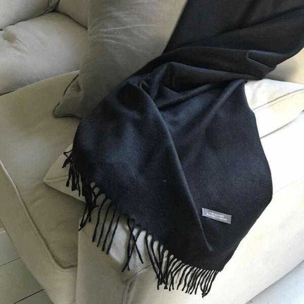 Black cashmere and merino throw